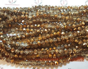 1 strand of 16 inches of 8x6mm Faceted Rondelle Metallic half Gold Chinese Crystal