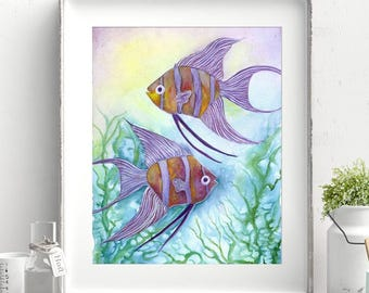 Angelfish - Tropical Fish Decor - Oracle Deck Art - Angel Fish Painting - Angelfish Watercolor - Lake House Decor - Beachhouse Decor