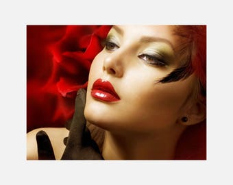 Beauty hair Salon Red Makeup Poster or Canvas