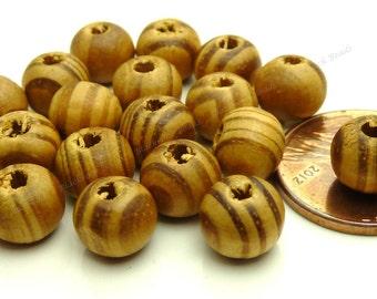 20 Burlywood Round Wood Beads - 8mm Beads - Sandy Brown Beads, Dark Brown Wood Beads - BT2