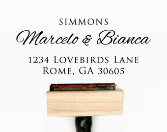 Custom Personalized Return Address Pre-Designed Rubber Stamp - Branding, Packaging, Invitations, Party, Wedding Favors - A013
