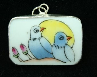 Hand Painted Ceramic Pottery Shard  Ming Qing Dynasty Shard Necklace Pendant