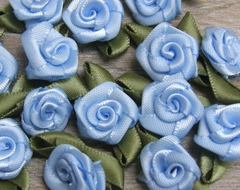 BABY BLUE Rosebuds Roses Wedding Card Embellishments Rose buds card Craft Sewing 25  50 100 500