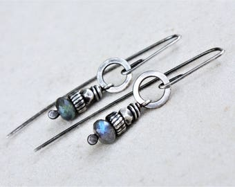 Sterling silver labradorite drop earrings, labradorite earrings, oxidized silver earrings
