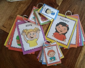 12 Large Emotion Cards made by Organize it mom to help kids identify and label how they are feeling.