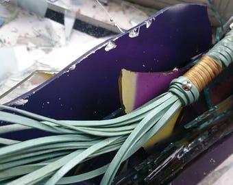 Shabby mint green BDSM leather Flogger Whip