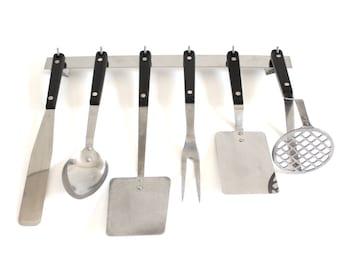 Ekco Vanadium / Flint Kitchen Utensils: Spatula, Icing Spreader, Meat Fork, Potato Masher, Basting Spoon, Soup Ladle Stainless Steel USA