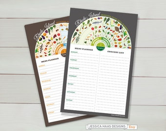 RHODE ISLAND Menu Planner /Grocery List Notepads