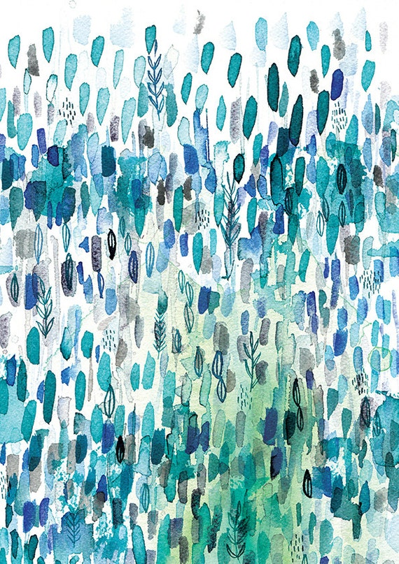 Nature In Blue No.1 Wall Art Print abstract illustration in blue ink