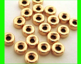 50pcs 3mm 14k Yellow gold filled seamless shiny roundel donut  bead spacers GB33