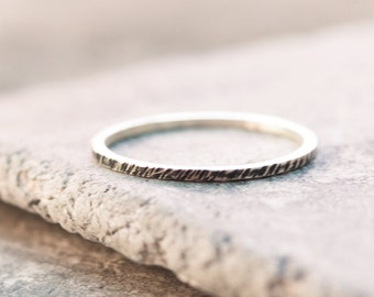 Black texture - stacking ring, Sterling silver stackable ring