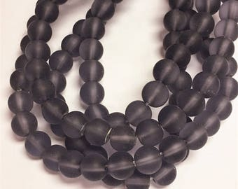 2 strands 8mm glass  frosted glass beads-over 80 beads-1028m