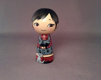 Little goth girl with cats Wooden Handpainted Kokeshi Doll