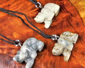 Bear Necklace - Petite Picasso Jasper Carved Gemstone Pendant - Animal Charm - Crystal Earrings (EE34)  Healing Crystals and Stones Jewelry