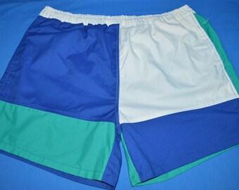 90s Guysports White Green Bathing Suit Shorts Extra Large Size 44