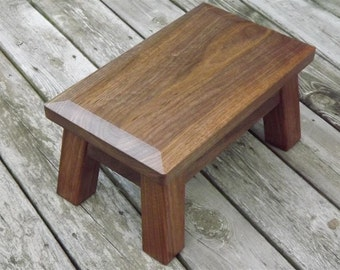 "Walnut, classic, modern, wood riser, step stool, riser, footstool, beveled edge, 8"" - 10"" H"