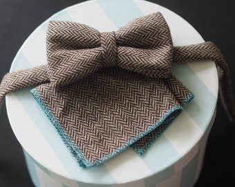 Humphrey bowtie with matching Hugo pocket square in brown/cream herringbone wool