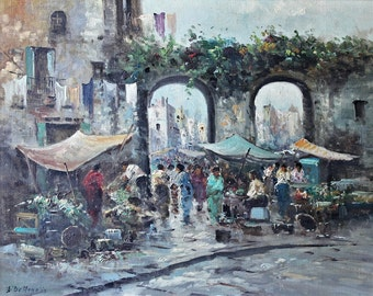Vintage Original Oil Painting ~ Street Market / Listed Artist: Elettra De Angelis Briante / Artist-Signed