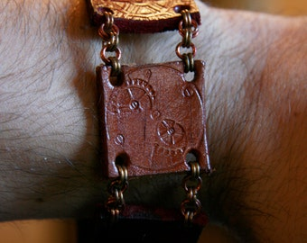 SALE! Steampunk Leather & Brass Chainmaille Bracelet ~ Chainmail Steam Punk jewelry
