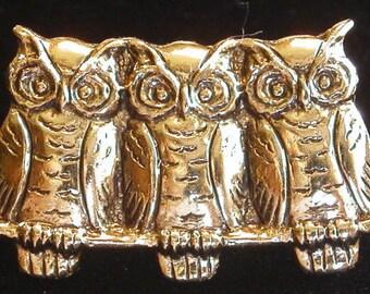 3 Owls in a Row 24 Karat Gold Plate Tack Pin Owl TG007