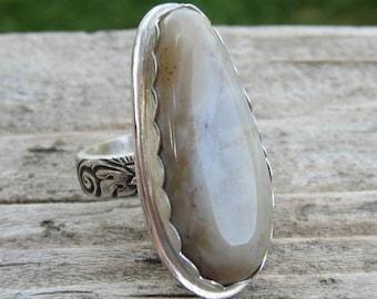 Indianische inspirierte Achat 925er Silber Ring - Größe 7-3/4