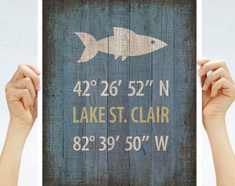 "Lake St. Clair Coordinates Print - Fish,  8"" x 10"" or 11"" x14"""