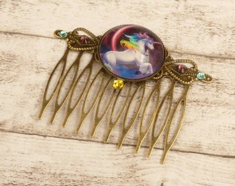 Hair comb with unicorn horse hair jewelry colorful fantasy hair accessories girl gift for her