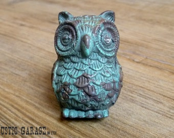 Aqua Blue Pewter Owl - Distressed Turquoise Owl Knob - Furniture Hardware Drawer Pull - Decorative Knob - Bird Owl Nursery Decor