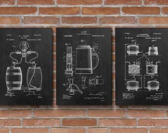 Beer Patents Set of 3 Prints, Beer Patent, Beer Brewing, Beer Posters, Beer Art, Bar Decor, Patent Posters - S004