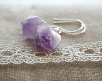 Amethyst Earrings , February Birthstone Gift , Raw Gemstone Jewelry , Purple Earrings , Gifts for Her