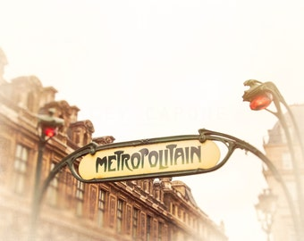 Paris Photograph, Image of Metropolitan Sign, City of Lights Art,  Travel photography, French Decor, crimson, yellow, green,  wall art print