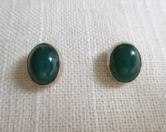 Sterling Silver and Green Onyx Stud Earrings
