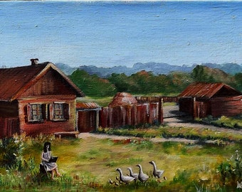 Rural landscape oil painting, ORIGINAL OIL PAINTING, Rural Landscape, Landscape oil, Oil painting, oil on canvas painting, Oil Wall art