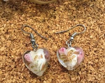 Lampwork Earrings, Heart Earrings, Glass Earrings, White Earrings