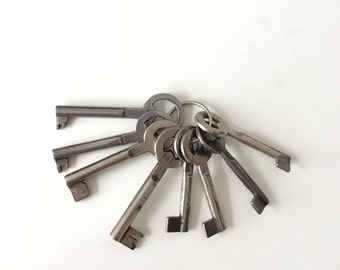 Vintage German rustic antique key set, antique keys set, locker, drawer