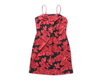 90s Floral Mini 1990s SLIP Dress Party Gothic Digital Rose Print Grunge Rose Goth Kinderwhore Y2K Cocktail Red Black High Neck XS Small