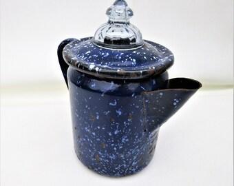 Vintage Enamelware | Enamel Coffee Pot | Blue Enamelware | Enamel Tea Pot | Speckled Graniteware | Fire King Glass Lid
