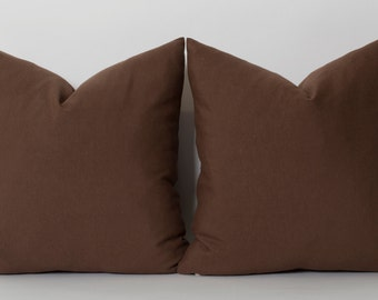 Solid Brown Linen Decorative Pillow Cover ALL SIZES Home Decor Accent Pillow Modern Pillow Cushion Cover Brown Pillows Couch Pillow