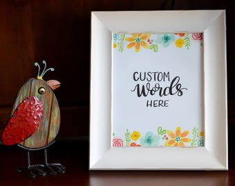 Custom Lettering Watercolor Digital Print File