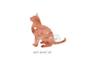 Short Haired Cat Watercolor Painting Digital Art Print Silhouette Custom Wall Decor, Home, Office, Nursery, Room Decor