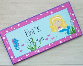 Kids name sign, Custom name sign, Name Plaque, Wooden name sign, Kids bedroom, Baby name signs, Nursery Decor - Mermaid