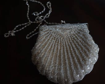 Vintage, Beaded Clam Shell Evening Purse