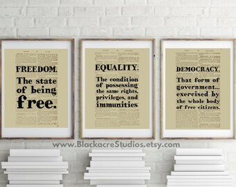 Black's Law Print Set - Gift Pack - Freedom - Equality - Democracy - Fourth of July - 4th of July - Black's Law - Lawyer