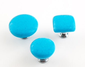 Turquoise Knobs, Fused Glass, Cabinet Hardware, Cottage Chic Decor, Furniture Pulls, Door Handles, Dresser Drawer Pulls, Choice of Size
