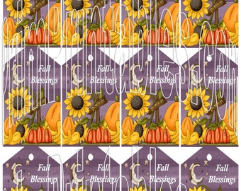 Fall Blessings Colorful Hang Tags Buy and Print Primitive Hang Tags Instant Download PDF File Fall Pumpkins Sunflowers