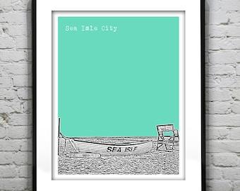 20% OFF Memorial Day Sale - Sea Isle City New Jersey Shore Poster Print Art NJ Skyline Jersey Shore