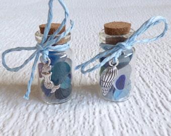 Multi Seaham seaglass miniature bottle, genuine English sea glass, glass display, beach glass vial, silver beach charm