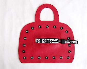 Red Leather Suitcase Patch with Zipper Suitcase patch with birdeye Red  Applique
