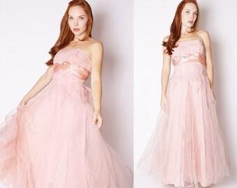 On SALE 60% Off - Vintage 1950s Dress - Emma Domb 1950s Dress - 50s Wedding Dress - Pink Wedding Dress  - 2258