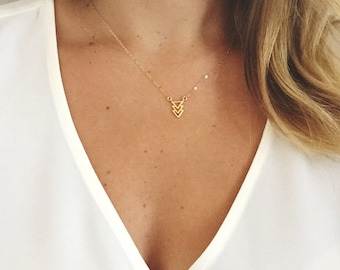 Dainty Three Tier Triangle Necklace / Triangle Necklace / Dainty Triangle